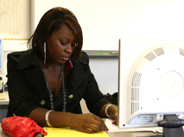 Lexington, KY woman doing her homework at her vocational college