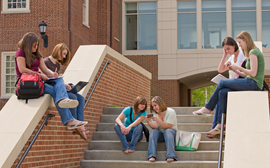 Group of Lincoln NE college students ready for class
